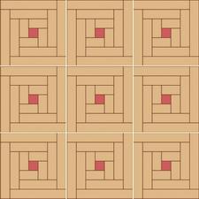 квадрат сложный (колодец) из двух пород дерева с прожилками из клена